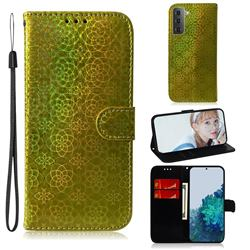 Laser Circle Shining Leather Wallet Phone Case for Samsung Galaxy S21 Plus / S30 Plus - Golden