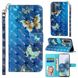 Rankine Butterfly 3D Leather Phone Holster Wallet Case for Samsung Galaxy S21 Plus / S30 Plus