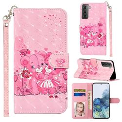 Pink Bear 3D Leather Phone Holster Wallet Case for Samsung Galaxy S21 Plus / S30 Plus