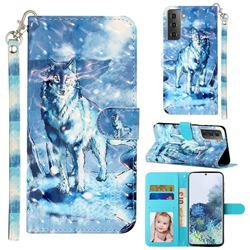 Snow Wolf 3D Leather Phone Holster Wallet Case for Samsung Galaxy S21 Plus / S30 Plus