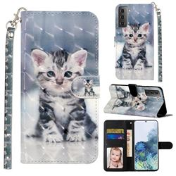 Kitten Cat 3D Leather Phone Holster Wallet Case for Samsung Galaxy S21 Plus / S30 Plus