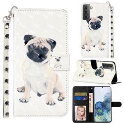 Pug Dog 3D Leather Phone Holster Wallet Case for Samsung Galaxy S21 Plus / S30 Plus
