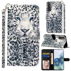 White Leopard 3D Leather Phone Holster Wallet Case for Samsung Galaxy S21 Plus / S30 Plus