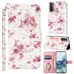 Rambler Rose Flower 3D Leather Phone Holster Wallet Case for Samsung Galaxy S21 Plus / S30 Plus
