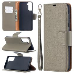 Classic Luxury Litchi Leather Phone Wallet Case for Samsung Galaxy S21 Plus / S30 Plus - Gray
