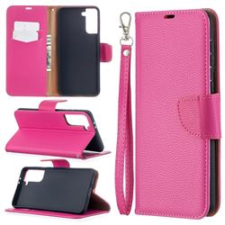 Classic Luxury Litchi Leather Phone Wallet Case for Samsung Galaxy S21 Plus / S30 Plus - Rose