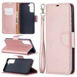 Classic Luxury Litchi Leather Phone Wallet Case for Samsung Galaxy S21 Plus / S30 Plus - Golden