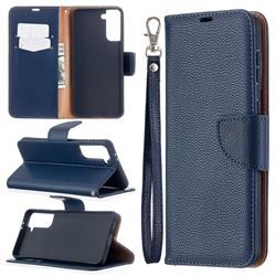 Classic Luxury Litchi Leather Phone Wallet Case for Samsung Galaxy S21 Plus / S30 Plus - Blue