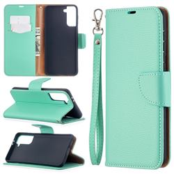 Classic Luxury Litchi Leather Phone Wallet Case for Samsung Galaxy S21 Plus / S30 Plus - Green