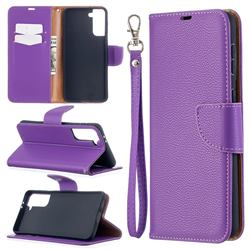 Classic Luxury Litchi Leather Phone Wallet Case for Samsung Galaxy S21 Plus / S30 Plus - Purple
