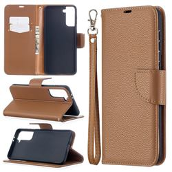 Classic Luxury Litchi Leather Phone Wallet Case for Samsung Galaxy S21 Plus / S30 Plus - Brown