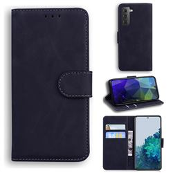Retro Classic Skin Feel Leather Wallet Phone Case for Samsung Galaxy S21 Plus / S30 Plus - Black