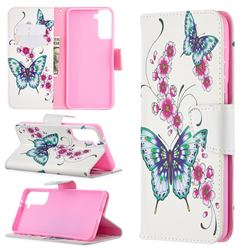 Peach Butterflies Leather Wallet Case for Samsung Galaxy S21 Plus / S30 Plus