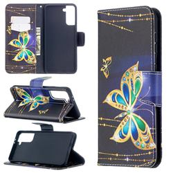 Golden Shining Butterfly Leather Wallet Case for Samsung Galaxy S21 Plus / S30 Plus