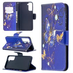 Purple Butterfly Leather Wallet Case for Samsung Galaxy S21 Plus / S30 Plus