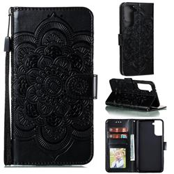 Intricate Embossing Datura Solar Leather Wallet Case for Samsung Galaxy S21 Plus / S30 Plus - Black