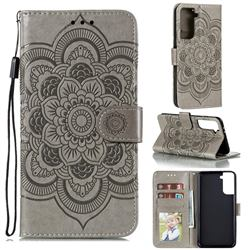 Intricate Embossing Datura Solar Leather Wallet Case for Samsung Galaxy S21 Plus / S30 Plus - Gray