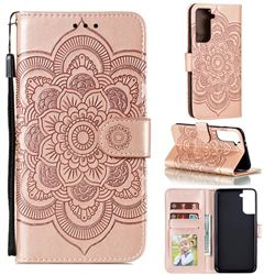 Intricate Embossing Datura Solar Leather Wallet Case for Samsung Galaxy S21 Plus / S30 Plus - Rose Gold