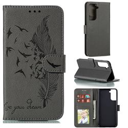 Intricate Embossing Lychee Feather Bird Leather Wallet Case for Samsung Galaxy S21 Plus / S30 Plus - Gray