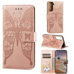 Intricate Embossing Rose Flower Butterfly Leather Wallet Case for Samsung Galaxy S21 Plus / S30 Plus - Rose Gold