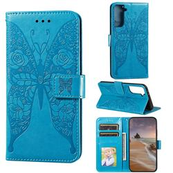 Intricate Embossing Rose Flower Butterfly Leather Wallet Case for Samsung Galaxy S21 Plus / S30 Plus - Blue