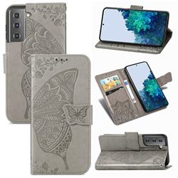 Embossing Mandala Flower Butterfly Leather Wallet Case for Samsung Galaxy S21 Plus / S30 Plus - Gray