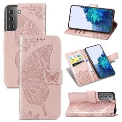 Embossing Mandala Flower Butterfly Leather Wallet Case for Samsung Galaxy S21 Plus / S30 Plus - Rose Gold