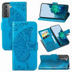 Embossing Mandala Flower Butterfly Leather Wallet Case for Samsung Galaxy S21 Plus / S30 Plus - Blue