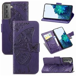 Embossing Mandala Flower Butterfly Leather Wallet Case for Samsung Galaxy S21 Plus / S30 Plus - Dark Purple