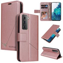 GQ.UTROBE Right Angle Silver Pendant Leather Wallet Phone Case for Samsung Galaxy S21 Plus / S30 Plus - Rose Gold