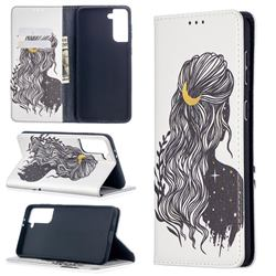 Girl with Long Hair Slim Magnetic Attraction Wallet Flip Cover for Samsung Galaxy S21 Plus / S30 Plus