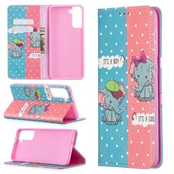 Elephant Boy and Girl Slim Magnetic Attraction Wallet Flip Cover for Samsung Galaxy S21 Plus / S30 Plus