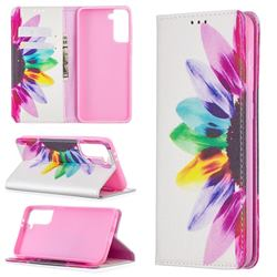 Sun Flower Slim Magnetic Attraction Wallet Flip Cover for Samsung Galaxy S21 Plus / S30 Plus