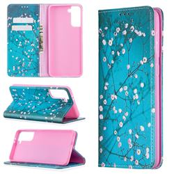 Plum Blossom Slim Magnetic Attraction Wallet Flip Cover for Samsung Galaxy S21 Plus / S30 Plus