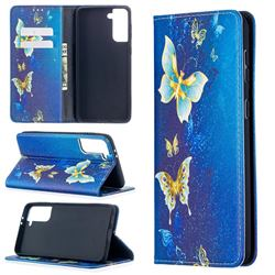 Gold Butterfly Slim Magnetic Attraction Wallet Flip Cover for Samsung Galaxy S21 Plus / S30 Plus
