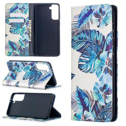 Blue Leaf Slim Magnetic Attraction Wallet Flip Cover for Samsung Galaxy S21 Plus / S30 Plus