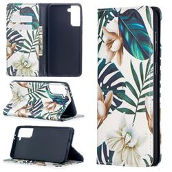 Flower Leaf Slim Magnetic Attraction Wallet Flip Cover for Samsung Galaxy S21 Plus / S30 Plus