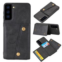 Retro Multifunction Card Slots Stand Leather Coated Phone Back Cover for Samsung Galaxy S21 Plus - Black
