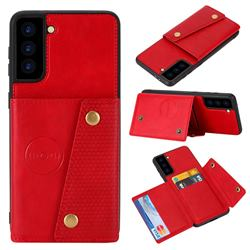 Retro Multifunction Card Slots Stand Leather Coated Phone Back Cover for Samsung Galaxy S21 Plus - Red
