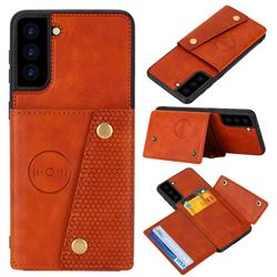 Retro Multifunction Card Slots Stand Leather Coated Phone Back Cover for Samsung Galaxy S21 Plus - Brown