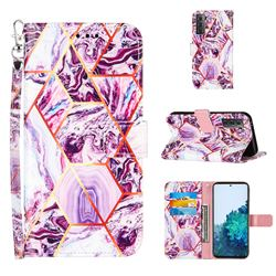 Dream Purple Stitching Color Marble Leather Wallet Case for Samsung Galaxy S21 Plus