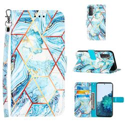 Lake Blue Stitching Color Marble Leather Wallet Case for Samsung Galaxy S21 Plus