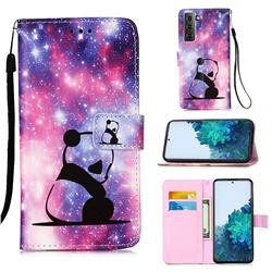 Panda Baby Matte Leather Wallet Phone Case for Samsung Galaxy S21 Plus