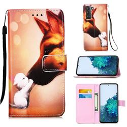 Hound Kiss Matte Leather Wallet Phone Case for Samsung Galaxy S21 Plus