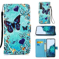 Love Butterfly Matte Leather Wallet Phone Case for Samsung Galaxy S21 Plus