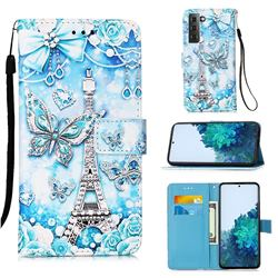 Tower Butterfly Matte Leather Wallet Phone Case for Samsung Galaxy S21 Plus