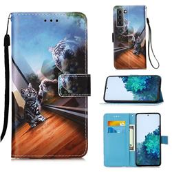 Mirror Cat Matte Leather Wallet Phone Case for Samsung Galaxy S21 Plus