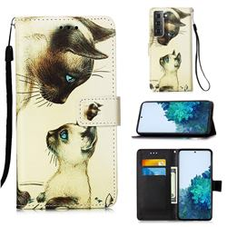 Cat Confrontation Matte Leather Wallet Phone Case for Samsung Galaxy S21 Plus