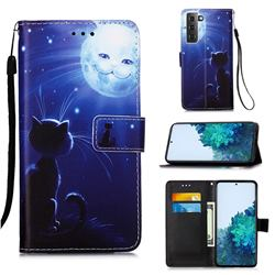 Cat and Moon Matte Leather Wallet Phone Case for Samsung Galaxy S21 Plus
