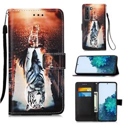 Cat and Tiger Matte Leather Wallet Phone Case for Samsung Galaxy S21 Plus